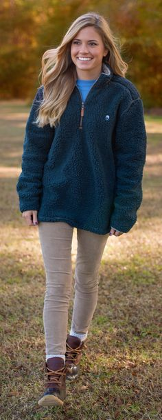 Every gal will look and feel great in our 1/4 Zip Sherpa Pullover in Midnight Navy! #southernshirt