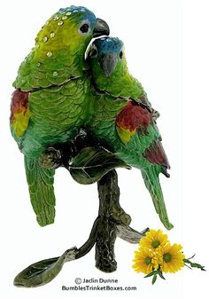Trinket Boxes- Two Green and Yellow Parrots
