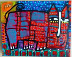 Tracey Ann Finley Original Outsider Folk Colorful Cat Painting 16x20 Canvas #OutsiderArt