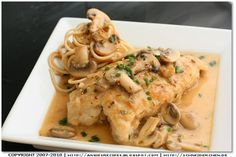 Chicken breasts with creamy mushroom and chive