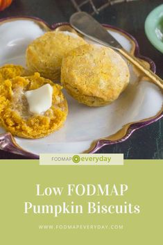 These Low FODMAP Pumpkin Biscuits are great alongside chili, soups and stews - but we also like them for breakfast or a snack with butter and jam. Fodmap Diet, Low Fodmap, Fodmap Foods, Fodmap Breakfast, Breakfast Recipes, Fodmap Recipes, Diet Recipes, Snack Recipes, Potato Recipes