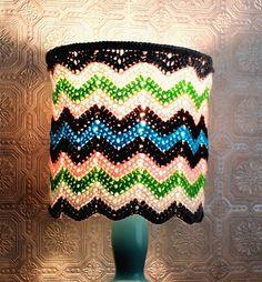 Chevron Crochet Lampshade Zig Zag Grey White Green Pink Brown Blue Handmade Housewares Atmosphere Lighting Unique Home Decor