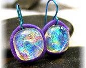 Dichroic Fused Glass Sparkling Translucent Earrings