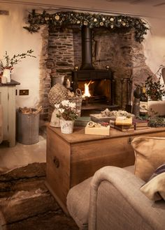 Luxury self-catering cottage near St Agnes, north Cornwall coast Cottage Living Rooms, Home Living Room, Living Room Designs, Cosy Living Room Decor, Small Cottage Interiors, Cottage Bedrooms, Inglenook Fireplace, Cosy Fireplace, Cottage Fireplace