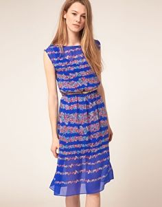 Warehouse Stripe Floral Midi Dress