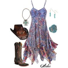 Women's+Bohemian+Style+Dresses Leave the hat off Mode Country, Estilo Country, Country Girl Style, Country Fashion, My Style, Gypsy Style, Country Girls Outfits, Girl Outfits, Cute Outfits