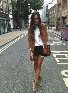 transition into fall // tan blazer with simple white blouse and denim shorts