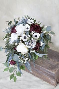 Silk Bridal Bouquet, Wedding Bouquet, Burgundy Bouquet, Cascade Bouquet, Anemone Bouquet, White Bouq