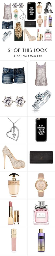 """""""The Girl with a Golden Touch"""" by annawell-1 ❤ liked on Polyvore featuring Miss Me, Velvet, Juicy Couture, Bling Jewelry, Jewel Exclusive, Casetify, Giuseppe Zanotti, Kate Spade, Prada and Michael Kors"""
