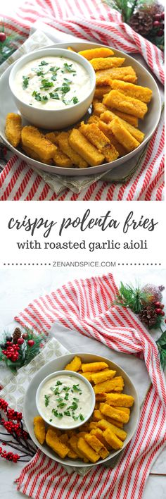 Impress your guests at your next holiday party with these crispy polenta fries with roasted garlic aioli! Super simple to make, aioli is a French-inspired sauce made of garlic, mayonnaise and lemon juice.