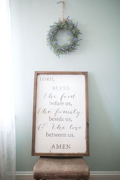 Bless the food before us prayer wooden by NaturalBlissBoutique Prayer, prayer sign, wooden sign, Joanna Gaines style, Fixer Upper Style, Farmhouse, Farmhouse style, Farmhouse decor, shabby chic, Rustic, dining room sign, kitchen sign, Kitchen decor, gift ideas, Religious signs, faith based signs, Etsy, lavender, Amen