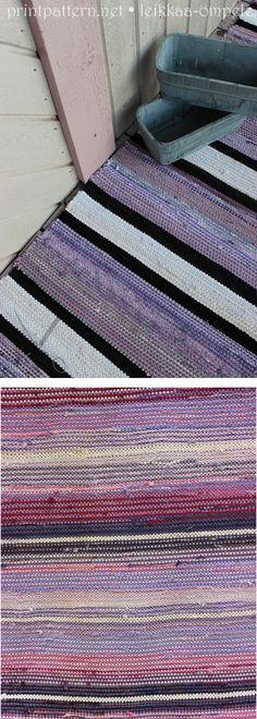 Räsymattojen erilaisia raita -ja värivaihtoehtoja.
