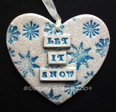 Let it Snow Christmas ceramic heart £7.00