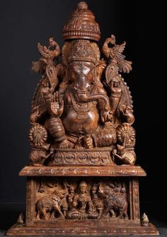 SOLD Wooden Ganesh Statue with Gaja Lakshmi 50""