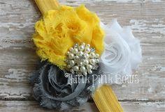 Baby headband, shabby chic baby headband, baby girl headband, headband in gray, yellow and white. on Etsy, $9.95