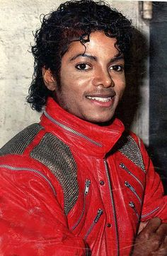 Thriller era: MJ Beat It Attire: Red leather jacket with silver buckles and zippers