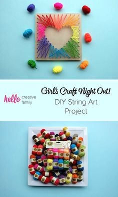 DIY String Art Project Inspiration, Diy And Crafts, Get a group of girlfriends together for a craft night and try this easy DIY project! Make your own string art with these easy instructions. Craft Projects For Adults, Arts And Crafts For Adults, Crafts For Teens To Make, Easy Arts And Crafts, Easy Art Projects, Arts And Crafts Projects, Easy Diy Crafts, Creative Crafts, Kids Crafts