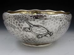 Tiffany & Co hammered sterling silver bowl with seaweed and turtle motifs, c1880 (Britannia Silver)