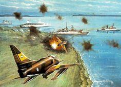Argentinian Super Etendards assaulting HMS Coventry, Falklands War