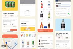Design of various screens for on-demand delivery alcohol delivery app Tipple. Andrew Malynowsky - Freelance Graphic Designer - Melbourne, VIC andrewmalynowsky.com Delivery App, Global Business, Freelance Graphic Design, Ux Design, Gold Coast, Melbourne, Stationery, Alcohol, Branding