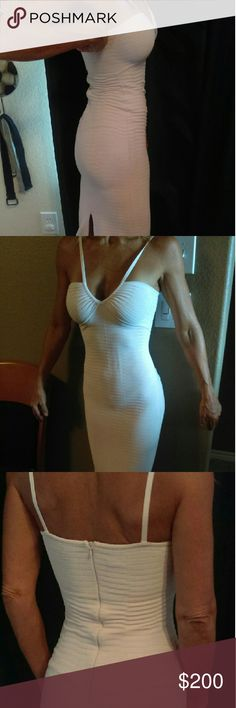 Herve Leger long dress Herve Leger body contouring long dress. You will look hot going out on the town and this stunning pale pink dress! . Kim Kardashian is popular for wearing this designer excellent condition make me an offer! Herve Leger Dresses Midi