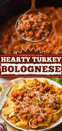 Love easy crockpot meals? Here's another hearty slow cooker recipe! The whole family will love coming home to a delicious dinner of ground turkey bolognese sauce and noodles. The perfect comfort food at the end of the day! Turkey Bolognese, Bolognese Sauce, Crockpot Meals, Slow Cooker Recipes, Ground Turkey, Noodles, Dinner, Crock Pot, Easy