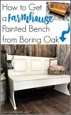 A painted furniture makeover, this farmhouse painted bench went from orange to distressed white and is now picture perfect. via @justthewoods