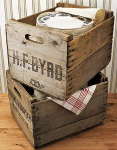 love the patina and the stencil on this stack of vintage crates