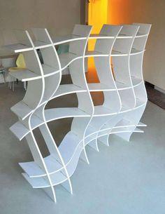 Wavy Shelf Design by Sang Hoon Kim Cube Furniture, Funky Furniture, Contemporary Furniture, Furniture Design, Traditional Bookshelves, Creative Bookshelves, Regal Design, Curved Wood, Bookcase Shelves