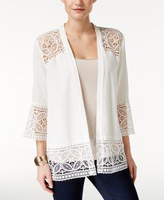 NY Collection Petite Open-Front Lace Cardigan - Sweaters - Women - Macy's