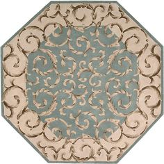 Nourison Hand-tufted Versaille Palace Aqua Rug Octagon ($759) ❤ liked on Polyvore featuring home, rugs, green, green wool rug, green floral area rug, octagon rugs, non skid area rugs and blue green area rug