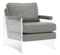TOV Furniture The Serena Collection Modern Style Eco Leather Upholstered  Lucite Frame Living Room Accent