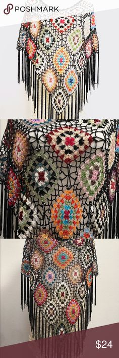 Vintage crochet cape/poncho Boho chic... what are you wearing to the summer festivals this year? Vintage crochet cape in pristine condition, no flaws! One size fits most Vintage Jackets & Coats Capes