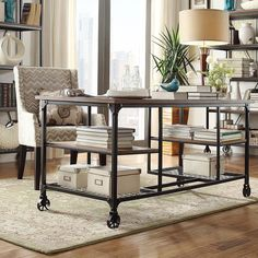 The Nelson storage desk showcases on-trend style and function that is the perfect addition to your home. This desk features wheels, a weathered top and sturdy metal base-shelf for extra storage.