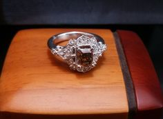 Excited to share the latest addition to my #etsy shop: Chocolate Diamond Art Deco-style 14K white gold engagement ring http://etsy.me/2C7bNsn #jewelry #ring #brown #no #whitegold #yes #women #diamond #emerald