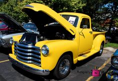 chevy, 3100, chevrolet, truck, yellow,  car, auto, vehicle, photography,  card, print, canvas, vintage, classic, (title: Traci II)