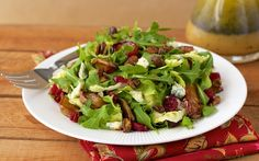 Roasted Pear Salad w/ Dried Cranberries, Gorgonzola, Sweet 'n Smoky Pistachios & Champagne-Honey Vinaigrette - thecafesucrefarine.com