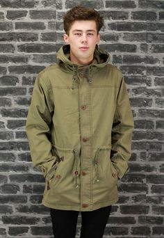 Details about Parka Coat Mens Fish Tail Mod Style Green Parker