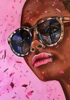'Cat Eyes Confetti' - Original Oil Painting by Amanda Mulquiney-Birbeck Portrait Art, Portraits, Afro Art, Black Art, Online Art Gallery, Cute Wallpapers, Art For Sale, Pop Art, Original Art