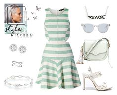 """""""spring fresh"""" by supabebek ❤ liked on Polyvore featuring TIBI, Rebecca Minkoff, Sun Buddies, Anne Michelle, Ippolita, Wish by Amanda Rose, stripes, mint, contestentry and whiteheels"""