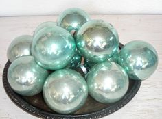 silvery blue Christmas ornaments - vintage shiny brite glass balls - distressed mottled patina - shabby cottage chic - hollywood regency by shesitsbytheseashore on Etsy