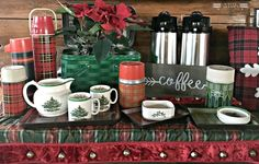 Kristin Lenz shares her favorite ideas from past holidays with Christmas decor ideas and inspiration for your whole house this season. Christmas China, Spode Christmas Tree, Christmas Dishes, Christmas In July, Xmas, Cabin Christmas, Christmas Coffee, Campfire Marshmallows, Cocoa Bar