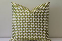 Schumacher Nolita Embroidery in Citron/Chartreuse - Lumbar and Square Sizes -  Decorative Designer Pillow Cover