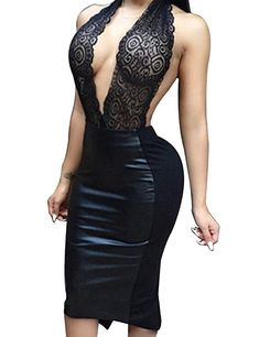 92a8bf14 Allegrace Women Sexy Luxury Lace Halter Neck Banquet Cocktail Prom Party  Dresses Black S at Amazon