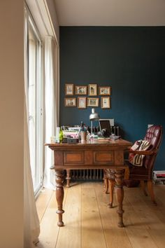 Hague Blue by Farrow & Ball with white window wall Farrow Ball, Farrow And Ball Paint, Dark Walls, Blue Walls, Dark Blue Dining Room, Sunroom Office, Hague Blue, Dining Room Paint, Wood Vanity