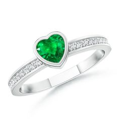 Angara 3-Prong-Set Heart Emerald Ring in Platinum j69Nu43L