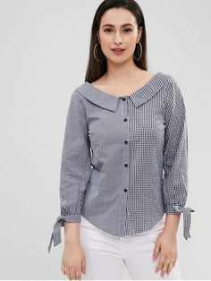 Foldover Collar Gingham Shirt - Multi S Neck Designs For Suits, Sleeves Designs For Dresses, Dress Neck Designs, Blouse Designs, Simple Kurti Designs, Kurta Neck Design, Kurti Designs Party Wear, Gingham Shirt, Blouse Styles