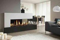 insert double face : cheminée d'angle au gaz pour déco de salon et salle à manger