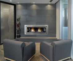 Solus Cast Concrete Tiled Fireplace in Shiitake by Solus Decor, Regency fireplace Modern Stone Fireplace, Contemporary Gas Fireplace, Linear Fireplace, Grey Fireplace, Fireplace Hearth, Home Fireplace, Fireplace Remodel, Gas Fireplaces, Fireplace Ideas