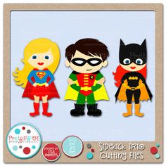 Pretty Paper, Pretty RibbonsSidekick Trio Cutting Files Superhero Baby Shower, Superhero Theme Party, Felt Crafts, Paper Crafts, Punch Art, Paper Punch, Digital Stamps, Cool Cards, Kids Cards